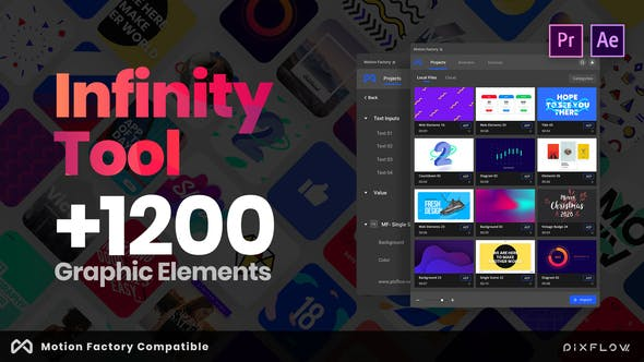 AE模板+PR预设-1200组文字图形元素标题排版转场背景标志动画工具包 PR预设-第1张
