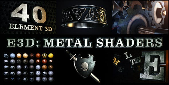 E3D金属材质无缝贴图预设包 Metal Shaders for Element 3D E3D-第1张