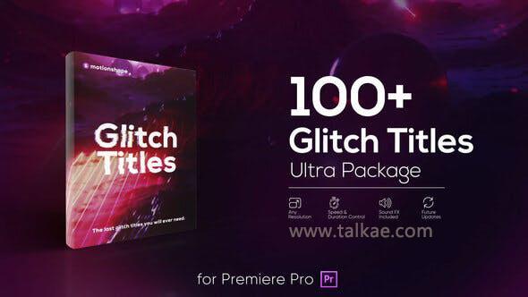Glitch Titles Pack 100个画面信号干扰损坏文字标题动画预设 PR预设-第1张